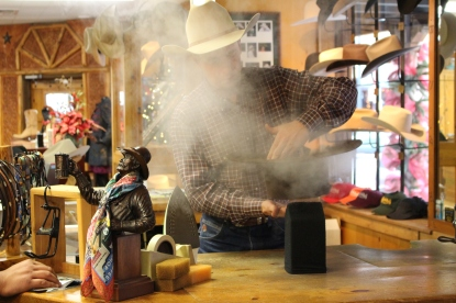Steaming cowboy hats in The Stockyards, Fort Worth.